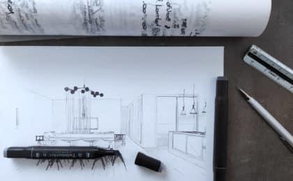 dessin decoratrice architecte designer d'intérieur